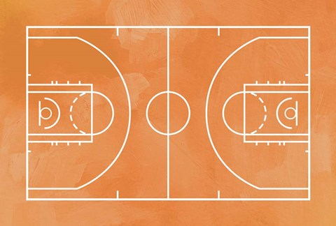 Basketball Court Orange Paint Background Fine Art Print By