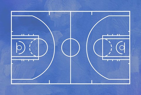 Basketball Court Blue Paint Background Fine Art Print By