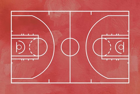 Basketball Court Red Paint Background Fine Art Print By