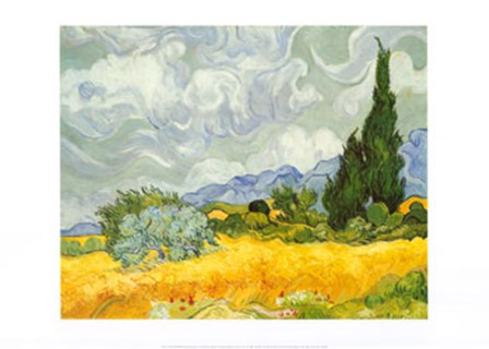 Field of Wheat with Cypresses, c.1889 by Vincent Van Gogh art print