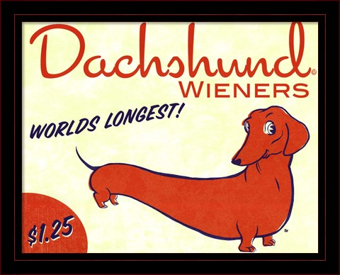 DOG ART PRINT Dachshund Wieners World/'s Longest Brian Rubenacker
