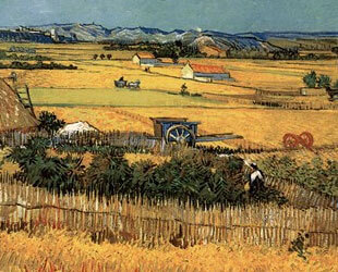 Harvest at La Crau, with Montmajour in the Background by Vincent Van Gogh