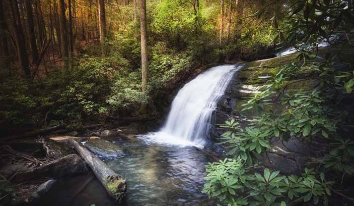 Morning Glow At The Waterfall Art Print
