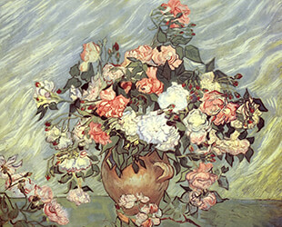 pink and white roses by Vincent Van Gogh