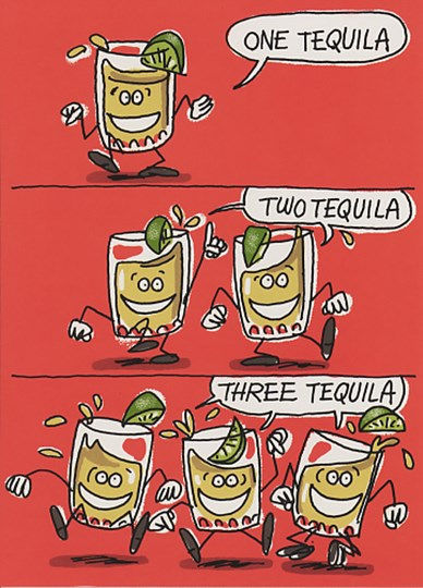 Birthday Tequila Funny Cartoon Greeting Card At Fulcrumgallery