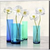 Poppies in crystal vases (Aqua I) Fine Art Print