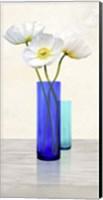 Poppies in crystal vases (Aqua II) Fine Art Print