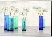 Poppies in crystal vases (Aqua palette) Fine Art Print