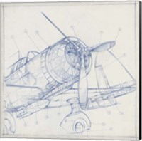 Airplane Mechanical Sketch I Fine Art Print