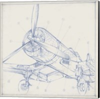 Airplane Mechanical Sketch II Fine Art Print