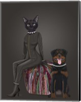 Black Cat and Rottweiler Fine Art Print