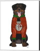 Christmas Des - Rottweiler in Christmas Sweater Fine Art Print