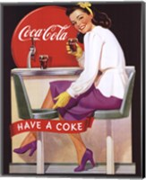 Coca-Cola Lady in Purple Fine Art Print