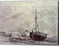 Coast Scene With Ships Fine Art Print