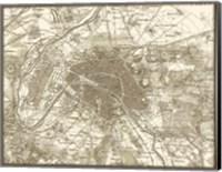 Sepia Map Of Paris Fine Art Print