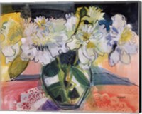 White Bouquet on Pink Table Fine Art Print