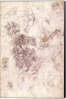 Study of figures for 'The Last Judgement' with artist's signature, 1536-41 Fine Art Print