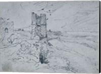 Cottages on a High Bank, 1834 Fine Art Print