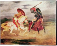 Two Knights Fighting in a Landscape Fine Art Print