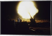 M198 Towed Howitzer Night Fire Fine Art Print