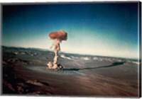Atomic bomb testing in the desert Fine Art Print