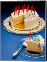 Close-up of candles on a birthday cake Fine Art Print