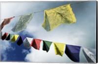 Low angle view of prayer flags, Kathmandu, Nepal Fine Art Print