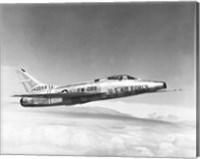 Side profile of a fighter plane in flight, F-100C Super Sabre Fine Art Print