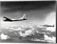 Side profile of a military tanker airplane refueling in flight, B-29 Superfortress, F-84 Thunderjet Fine Art Print