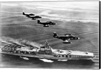 High angle view of four fighter planes flying over an aircraft carrier, US Navy Banshees, USS Coral Sea (CV-43) Fine Art Print