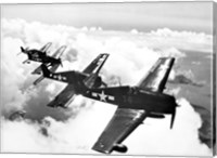High angle view of four fighter planes flying in formation, F6F Hellcat Fine Art Print