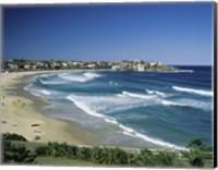 High angle view of a beach, Bondi Beach, Sydney, New South Wales, Australia Fine Art Print