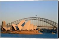 Sydney Opera House in front of the Sydney Harbor Bridge, Sydney, Australia Fine Art Print