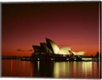 Opera house lit up at night, Sydney Opera House, Sydney, Australia Fine Art Print