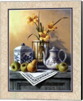 Country Tea Set with Yellow Lilies Fine Art Print