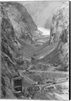 Looking upstream through Black Canyon toward Hoover Dam site showing condition after diversion of Colorado River Fine Art Print