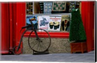 Old bicycle in front of a store, Kilkenny, Ireland Fine Art Print