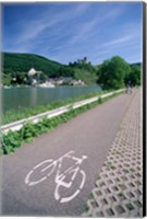 Cycle, Bicycle Path and Two Cyclists, Town View, Beilstein, Mosel Valley, Rhineland, Germany Fine Art Print