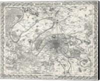 1855 City Plan of Paris, France Fine Art Print