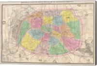 1867 colored Logerot Map of Paris, France Fine Art Print