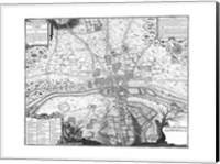 Plan de Paris - gray Fine Art Print