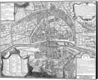 Plan de Paris - black and white map Fine Art Print