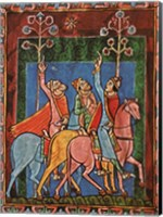 St. Albans Psalter, The Three Magi following the star Fine Art Print
