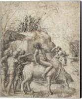 A Man Riding a Bull Fine Art Print