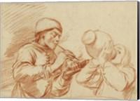 Studies of a Man Smoking and a Man Drinking Fine Art Print