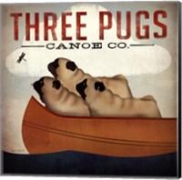 Three Pugs in a Canoe v Fine Art Print