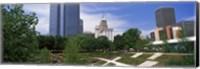 Botanical garden with skyscrapers in the background, Myriad Botanical Gardens, Oklahoma City, Oklahoma, USA Fine Art Print