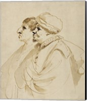 Caricature of Two Men Seen in Profile Fine Art Print