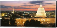 High angle view of a city lit up at dusk, Washington DC, USA Fine Art Print