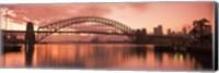 Sydney Harbour Bridge under Pink Sky, Sydney Harbor, Sydney, New South Wales, Australia Fine Art Print